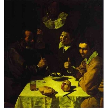 Three Men at Table 1618 by Diego Velazquez - Art gallery oil painting reproductions