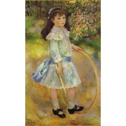 Girl with a Hoop 1885 by Pierre Auguste Renoir-Art gallery oil painting reproductions