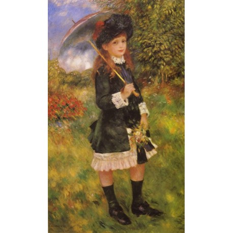 Girl with a Parasol 1883 by Pierre Auguste Renoir-Art gallery oil painting reproductions