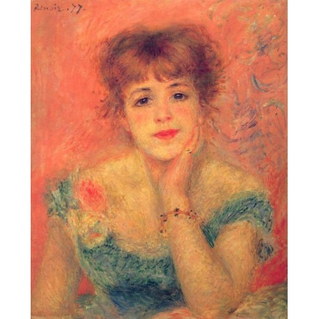 Jeanne Samary in a Low Necked Dress 1877 by Pierre Auguste Renoir-Art gallery oil painting reproductions