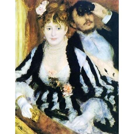 La Loge 1874 by Pierre Auguste Renoir-Art gallery oil painting reproductions
