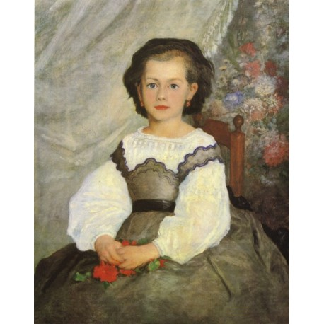 Little Miss Romain Lacaux 1864 by Pierre Auguste Renoir-Art gallery oil painting reproductions