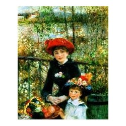 On the Terrace (Two Sisters) by Pierre Auguste Renoir-Art gallery oil painting reproductions