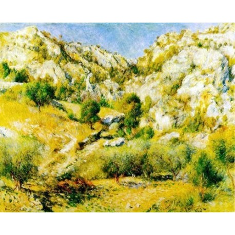 Rocky Crags at L'Estaque by Pierre Auguste Renoir-Art gallery oil painting reproductions