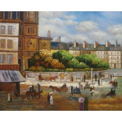 Place de la Trinite by Pierre Auguste Renoir-Art gallery oil painting reproductions