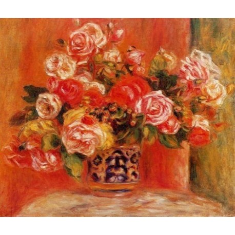 Roses in a Vase by Pierre Auguste Renoir-Art gallery oil painting reproductions