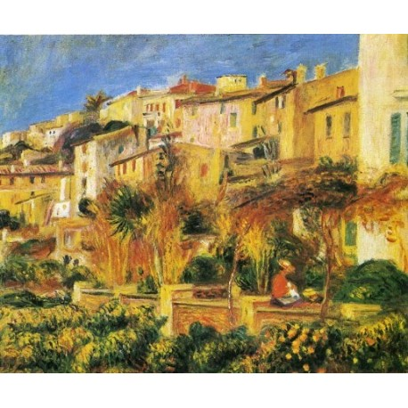 Terrace in Cagnes 1905 by Pierre Auguste Renoir-Art gallery oil painting reproductions