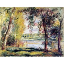 Trees by the Water by Pierre Auguste Renoir-Art gallery oil painting reproductions