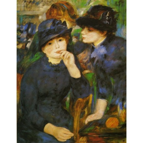 Two Girls in Black 1881 by Pierre Auguste Renoir-Art gallery oil painting reproductions
