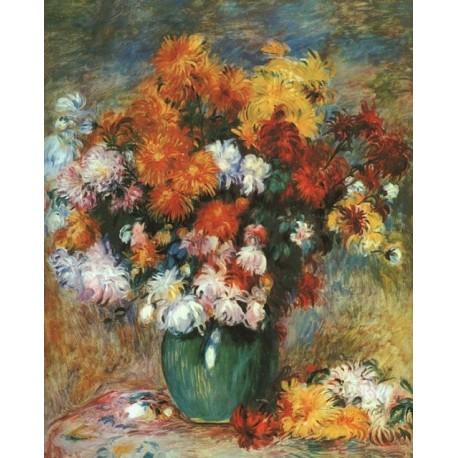 Vase of Chrysanthemums by Pierre Auguste Renoir-Art gallery oil painting reproductions