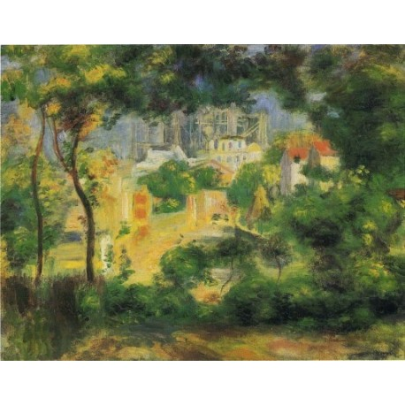 View of the New Building of the Sacre Coeur 1896 by Pierre Auguste Renoir-Art gallery oil painting reproductions