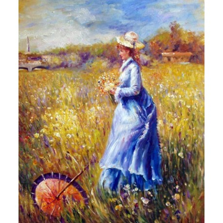 Woman Gathering Flowers by Pierre Auguste Renoir-Art gallery oil painting reproductions