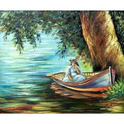 Woman in a Boat by Pierre Auguste Renoir-Art gallery oil painting reproductions