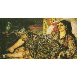 Woman of Algiers 1870 by Pierre Auguste Renoir-Art gallery oil painting reproductions