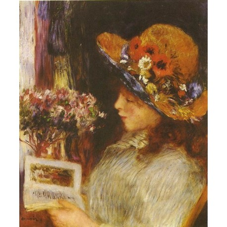 Young Girl Reading 1886 by Pierre Auguste Renoir-Art gallery oil painting reproductions