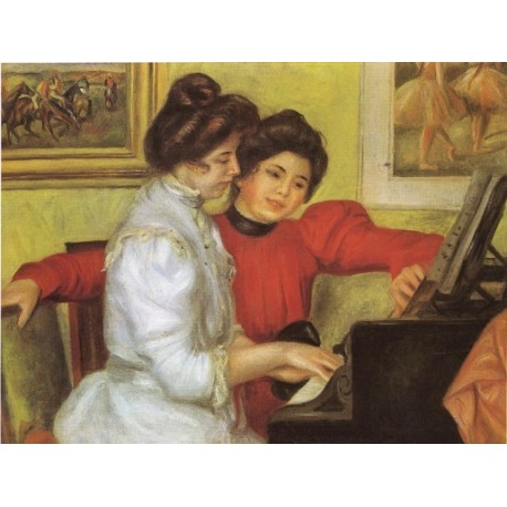 Yvonne and Christine Lerolle Playing the Piano 1897 by Pierre Auguste Renoir-Art gallery oil painting reproductions