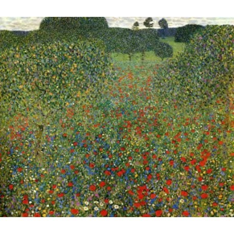 Poppy Field by Gustav Klimt-Art gallery oil painting reproductions