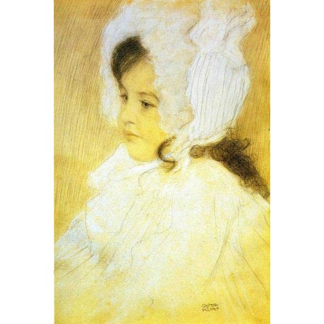 Portrait of a Girl by Gustav Klimt-Art gallery oil painting reproductions