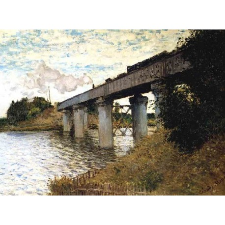 The Railway Bridge at Argenteuil by Claude Oscar Monet - Art gallery oil painting reproductions