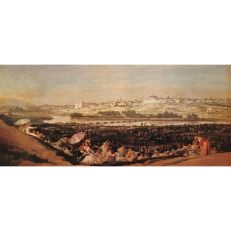 Festival at the Meadow of San Isadore by Francisco de Goya-Art gallery oil painting reproductions