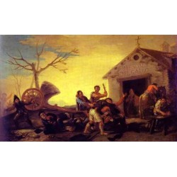 Fight at the Cock Inn by Francisco de Goya-Art gallery oil painting reproductions