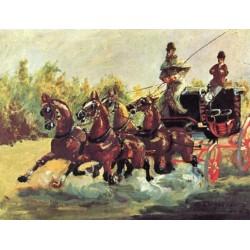 Alphonse de Toulouse-Lautrec Driving His Four in Hand 1880 by Henri de Toulouse-Lautrec-Art gallery oil painting reproductions
