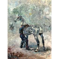 Artilleryman Saddling His Horse 1879 by Henri de Toulouse-Lautrec-Art gallery oil painting reproductions