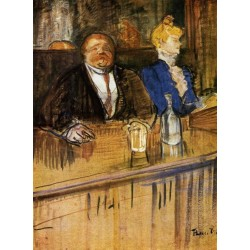 At the Cafe, The Customer and the Anemic Cashier 1899 by Henri de Toulouse-Lautrec-Art gallery oil painting reproductions
