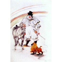 At The Circus, Horse and Monkey Dressage by Henri de Toulouse-Lautrec-Art gallery oil painting reproductions
