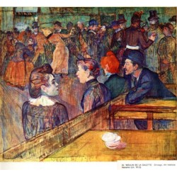 At the Moulin de la Galette Dance 1889 by Henri de Toulouse-Lautrec-Art gallery oil painting reproductions