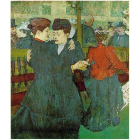 At the Moulin Rouge, The Two Waltzers 1892 by Henri de Toulouse-Lautrec -Art gallery oil painting reproductions