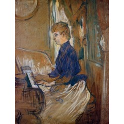 At the Piano, Juliette Pascal in the Salon of the Chateau by Henri de Toulouse-Lautrec-Art gallery oil painting reproductions