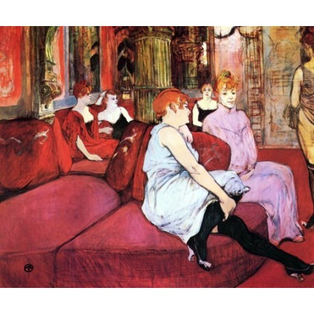 At the Salon de la Rue des Moulins by Henri de Toulouse-Lautrec-Art gallery oil painting reproductions