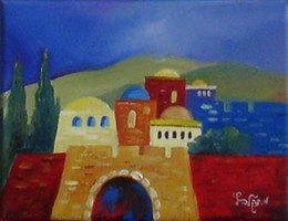 Jerusalem abstract 3 modern oil painting
