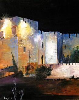 Jerusalem gates at night modern oil painting