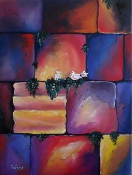 Jerusalem Kotel wall with doves modern oil painting